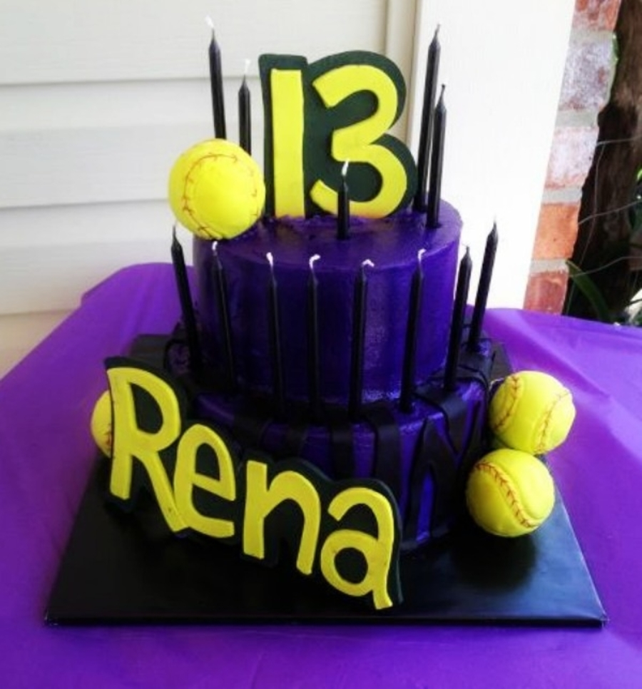 Purple Zebra Softball Cake on Cake Central