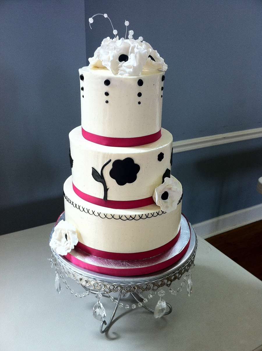 wedding cakes black white and pink black white and pink wedding cakecentral 23902