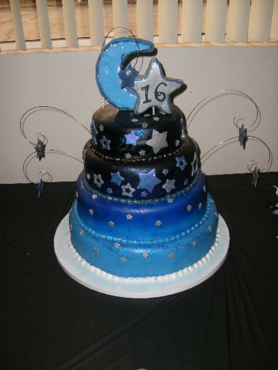 Moon & Stars Sweet 16 Dream Cake - CakeCentral.com