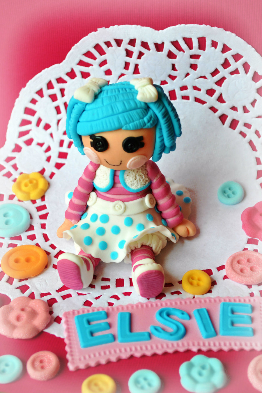 I Was Asked To Do A Lalaloopsy Cakeunfortunately I Already Had A Cake To Make That Day I Did However Make A Little Doll Topper And T  on Cake Central