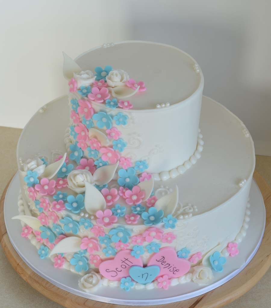 Pink And Blue Wedding on Cake Central
