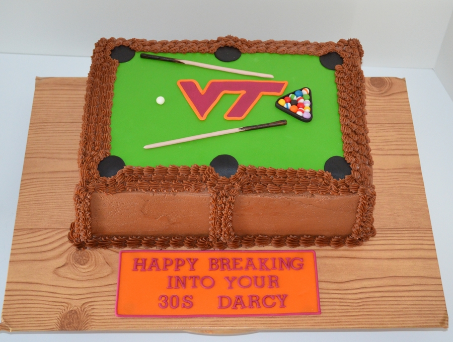 Virginia Tech Pool Table on Cake Central