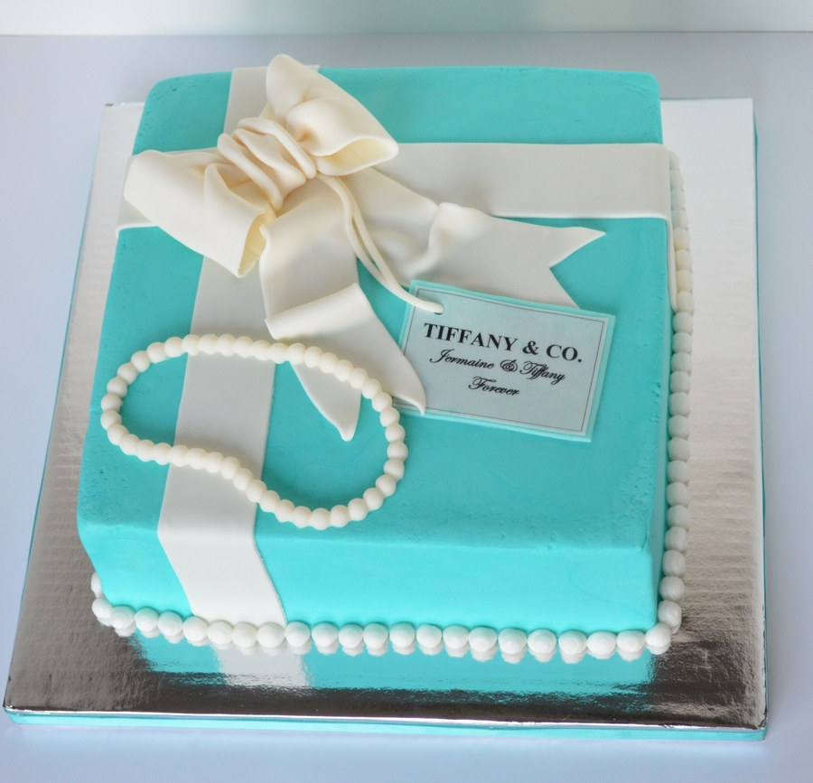 Tiffany Box, Pearls, And Bow on Cake Central