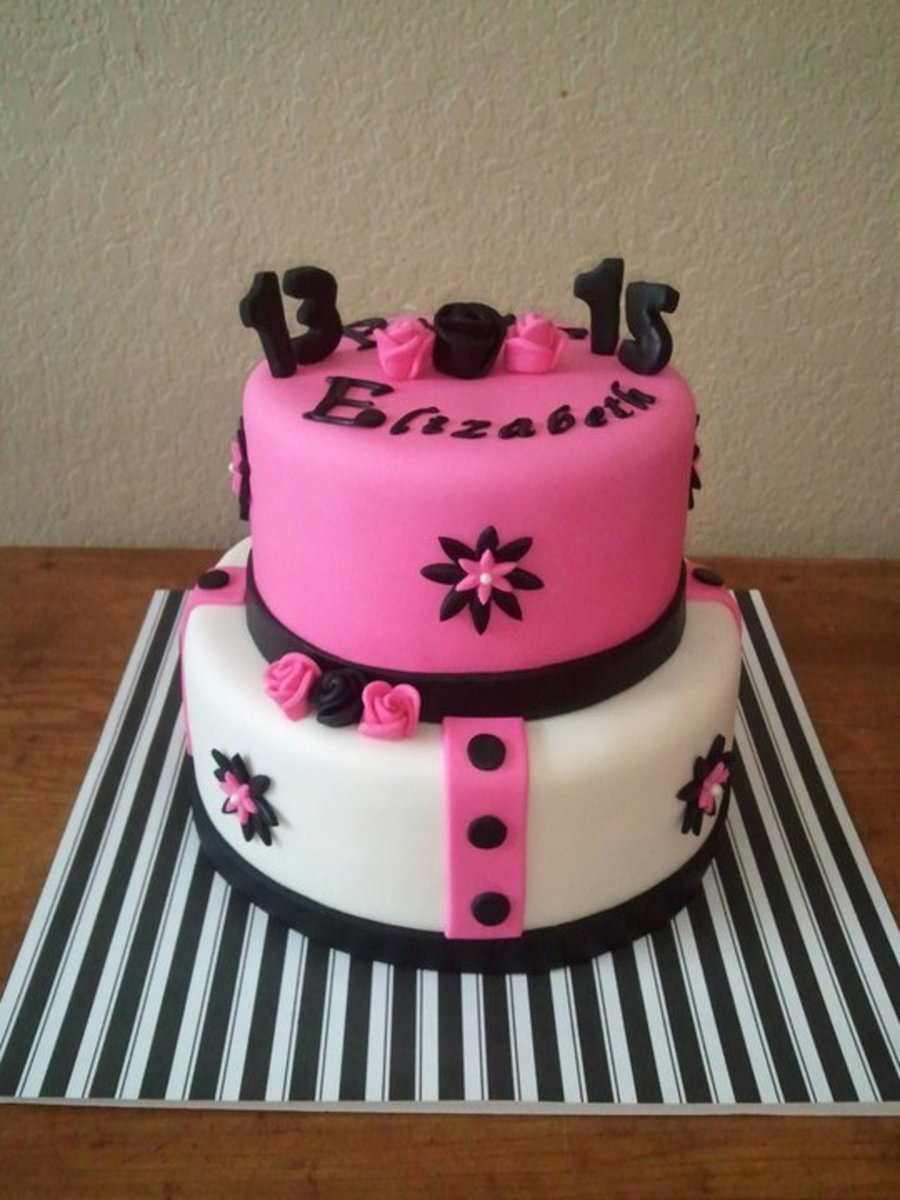Pink & Black Stripes & Roses on Cake Central