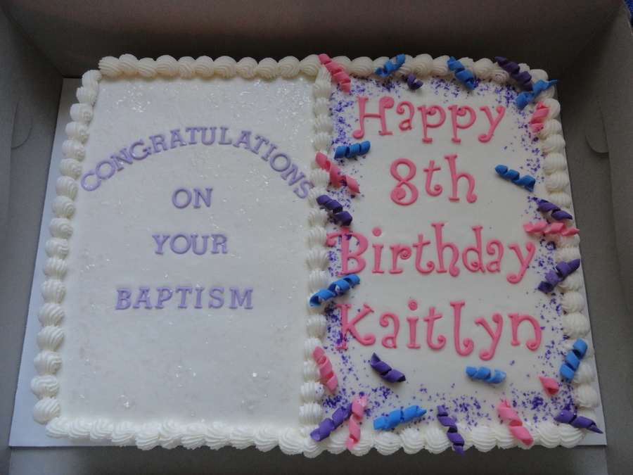Baptism Birthday Cake Chocolate Frosted In Buttercream on Cake Central