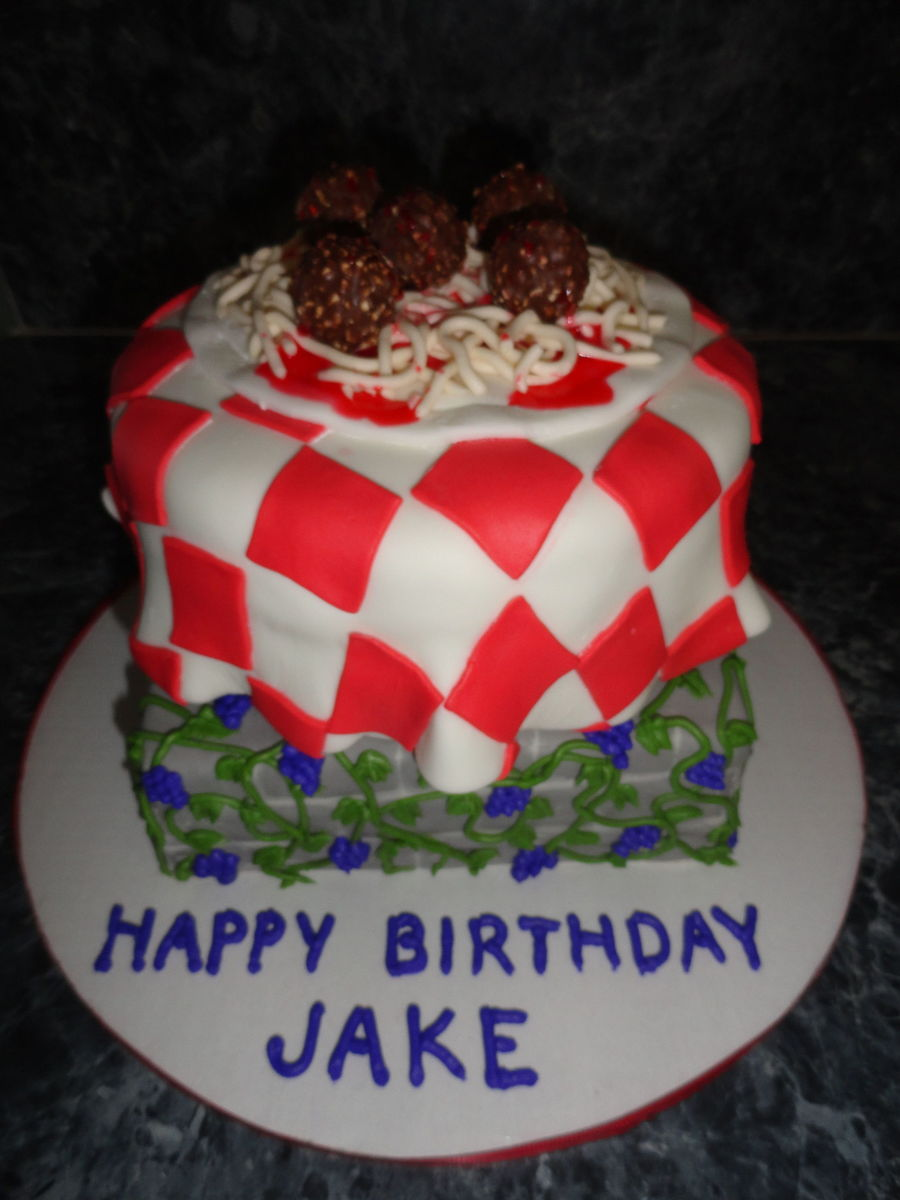 Italian Themed Birthday Cake Decorated In Mmf And Buttercream The Meatballs Are Ferrero Rocher And The Sauce Is Strawberry Ice Cream Sy on Cake Central