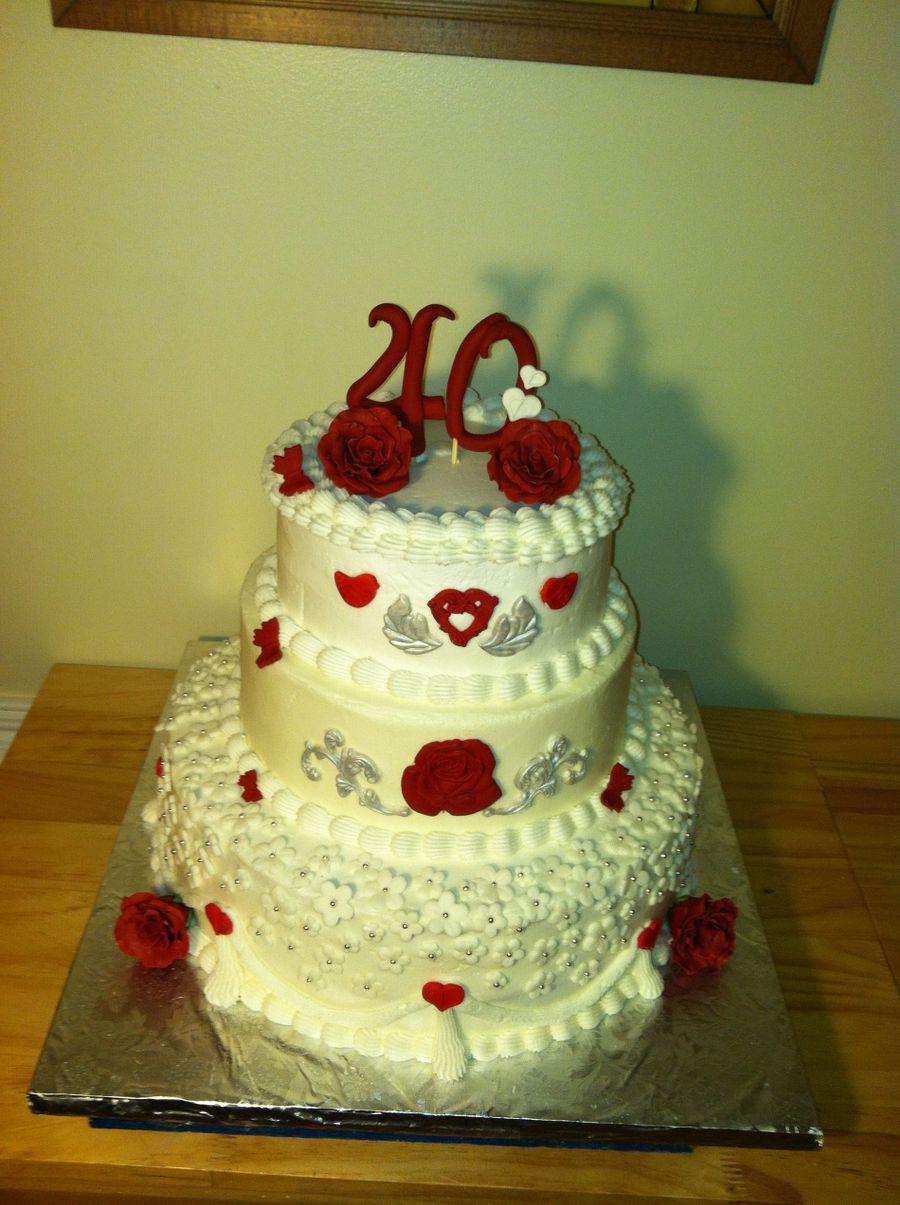 40Th Wedding Anniversary Cake - CakeCentral.com