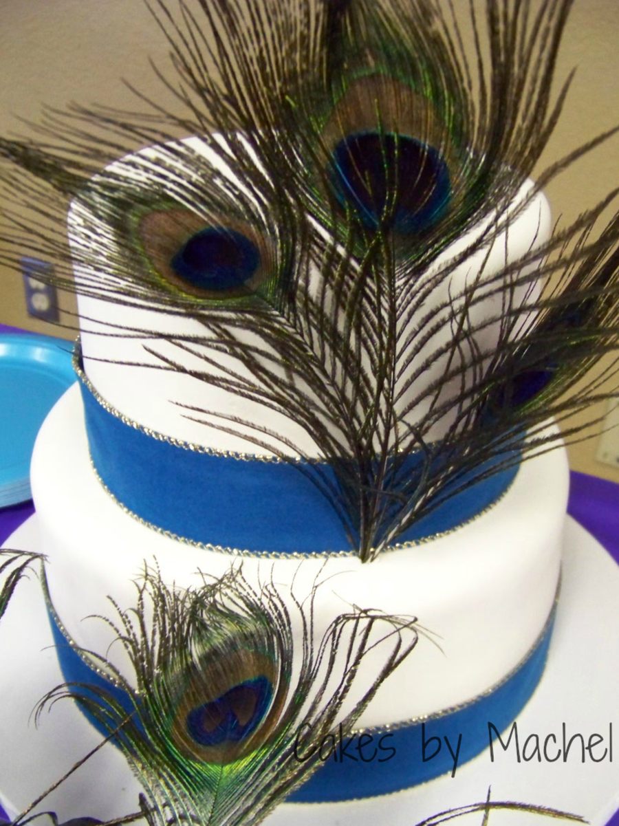 Pea Wedding Cake With Wide Ribbon Border And Feathers on Cake Central