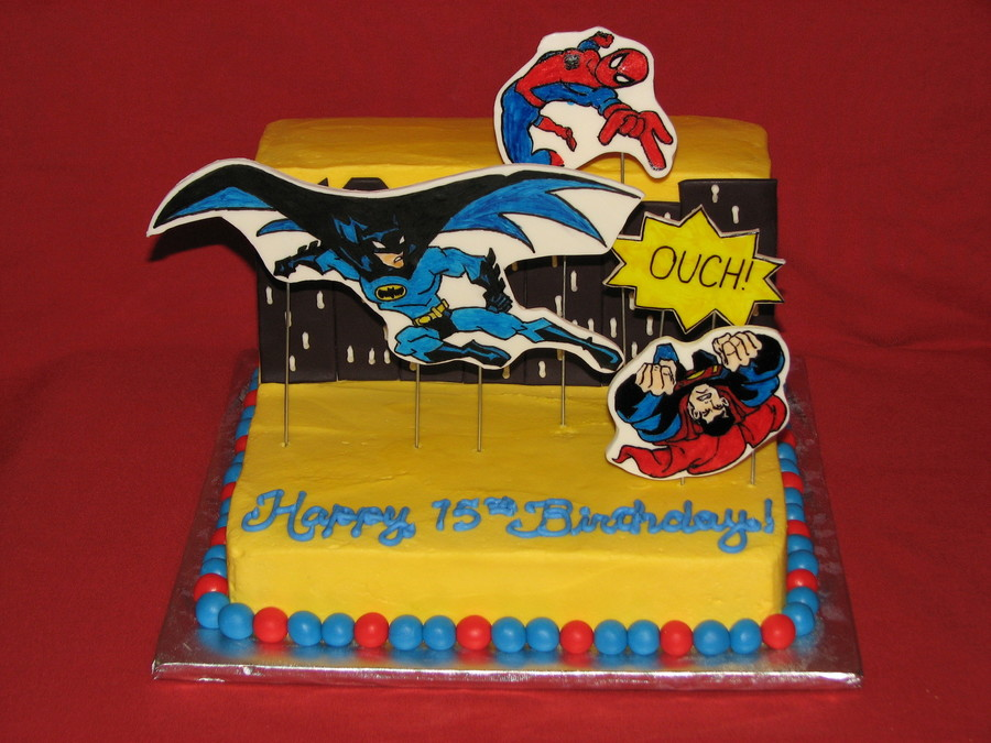 Didnt Turn Out As I Planned In My Head But The Customer Loved It The Theme Is Batman And Spiderman Beat Superman Apparently A Theater  on Cake Central