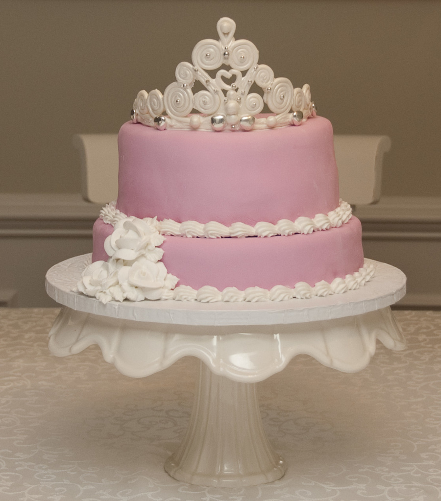 Pink Cake With White Tiara And Roses on Cake Central