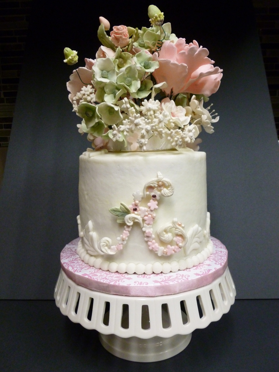 Birthday cake with sugar flowers cakecentral