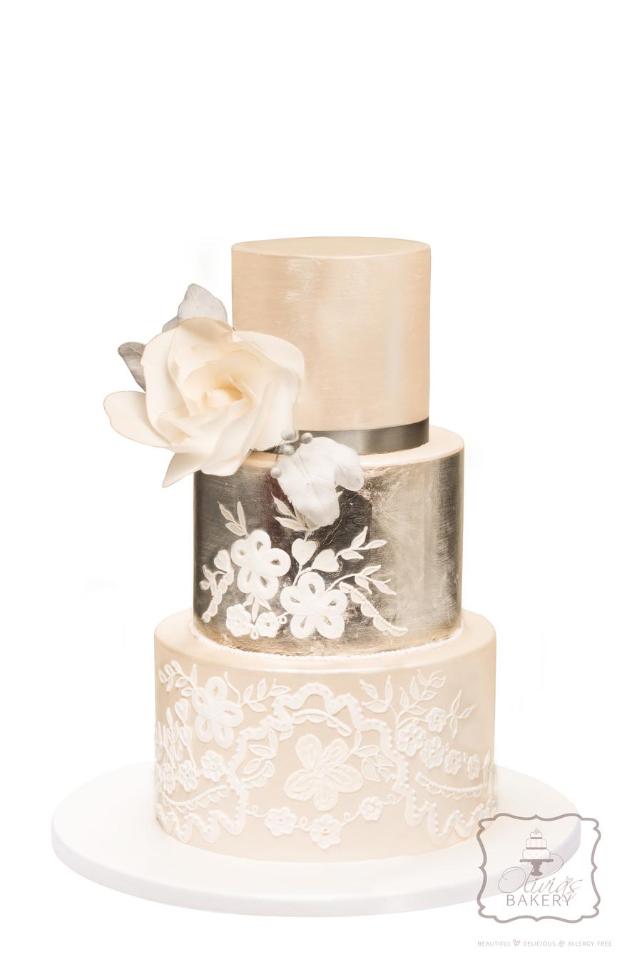 Silver Leaf & Ornament Wedding Cake - CakeCentral.com