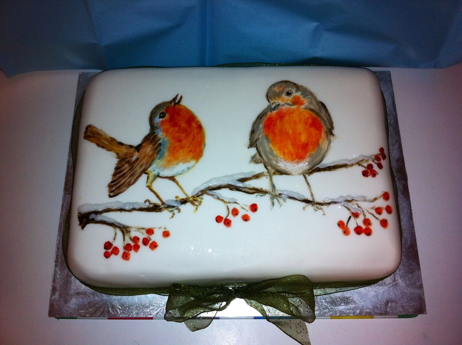 Christmas Robins Oh How I Enjoyed Hand Painting This 13 X 9 Christmas Cake Then Piping Some Royal Icing On For The Snow On The Branch A on Cake Central