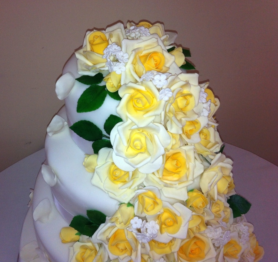 Cascading Yellow Roses Wedding Cake - CakeCentral.com