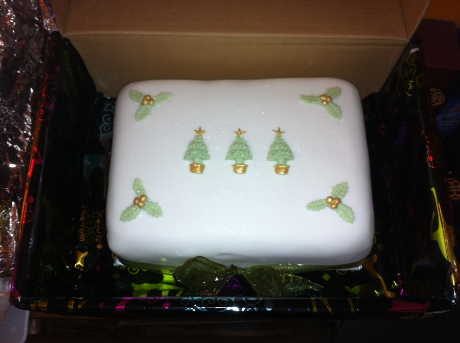 I Made Eleven Christmas Cakes This Year As Presents To Give To Family And Friends 10 Of Them I Decorated With Sparkly Christmas Trees And H... on Cake Central