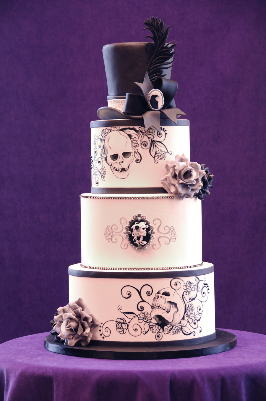 I Truly Loved Making This Cake All Of The Elements Are Completely My Style I Hand Painted The Designs With Americolor Super Black And Al on Cake Central
