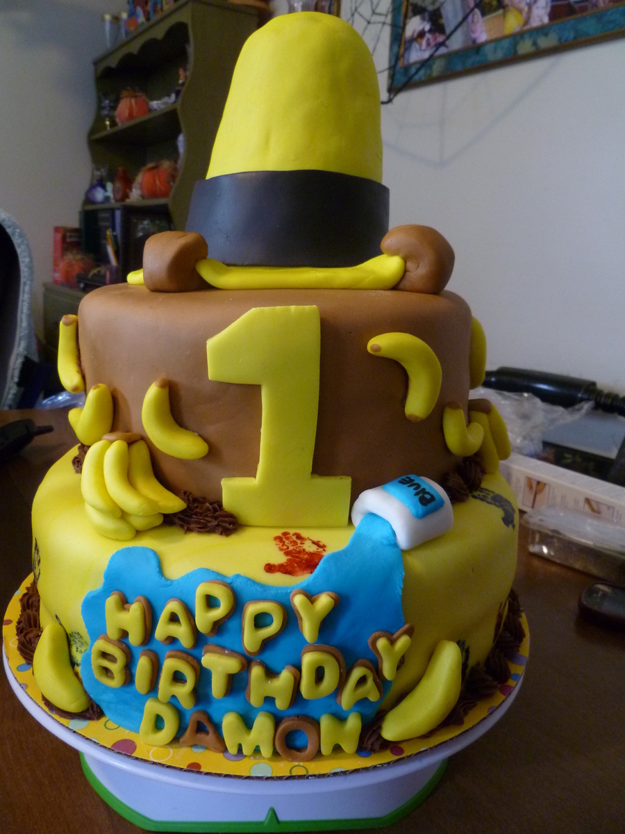 curious george 1st birthday cake for my nephew
