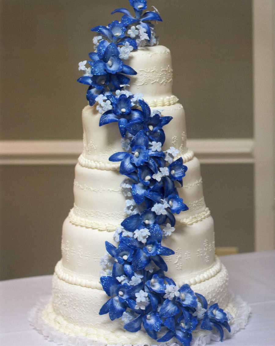 Blue And Purple Orchid Wedding Cake Blue Dendrobium Orchid