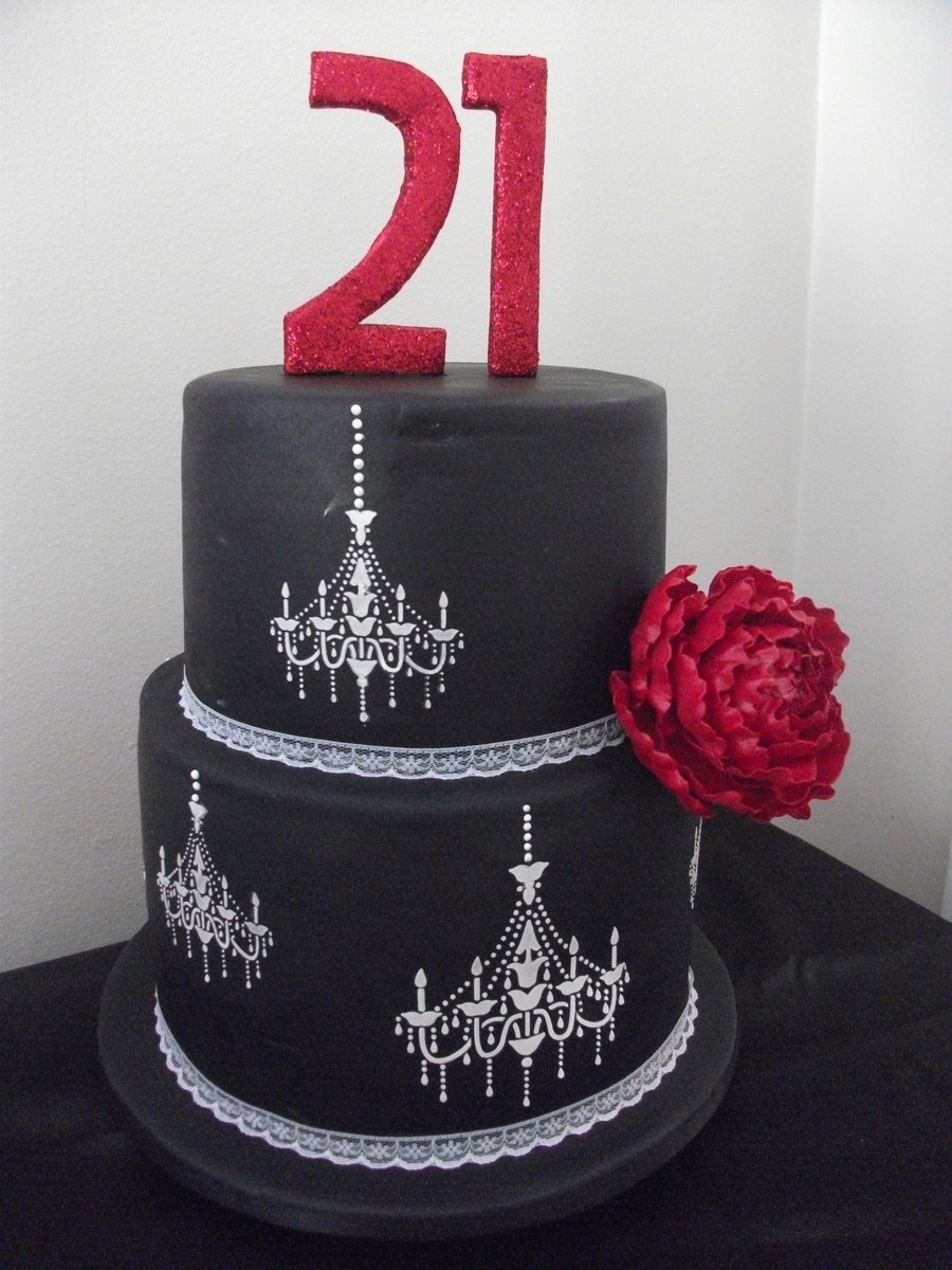 Black & White With A Dash Of Red 21St on Cake Central
