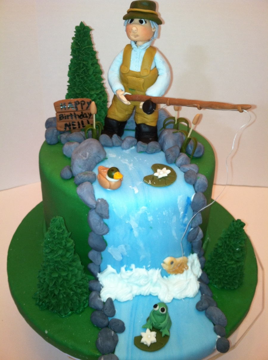 Fly fishing birthday cake for Fishing cake ideas