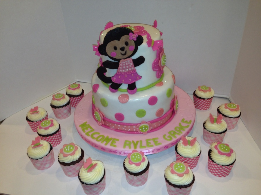 Elegant Monkey Baby Shower Cake And Cupcakes On Cake Central
