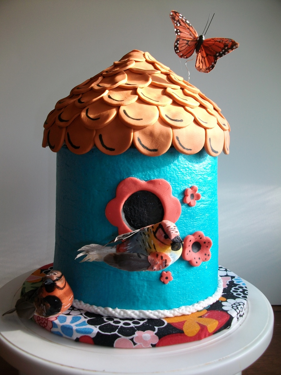 Buttercream Bird House on Cake Central
