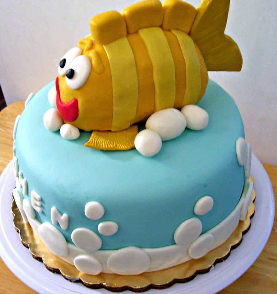 CartoonLike Fish Birthday Cake CakeCentralcom
