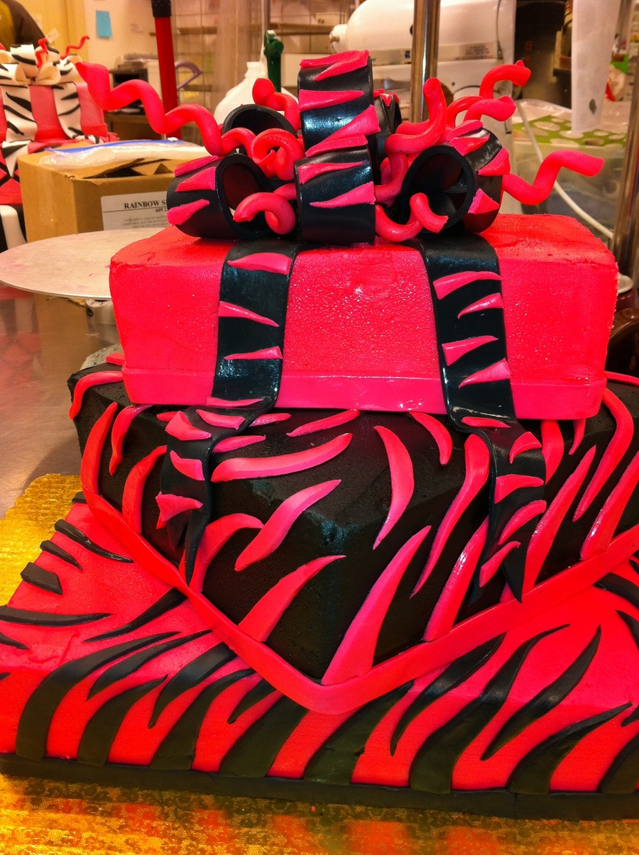3 Tier Zebra In Black And Hot Oink on Cake Central