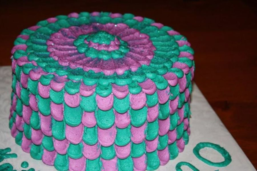 Peacock Colored Petal Cake on Cake Central