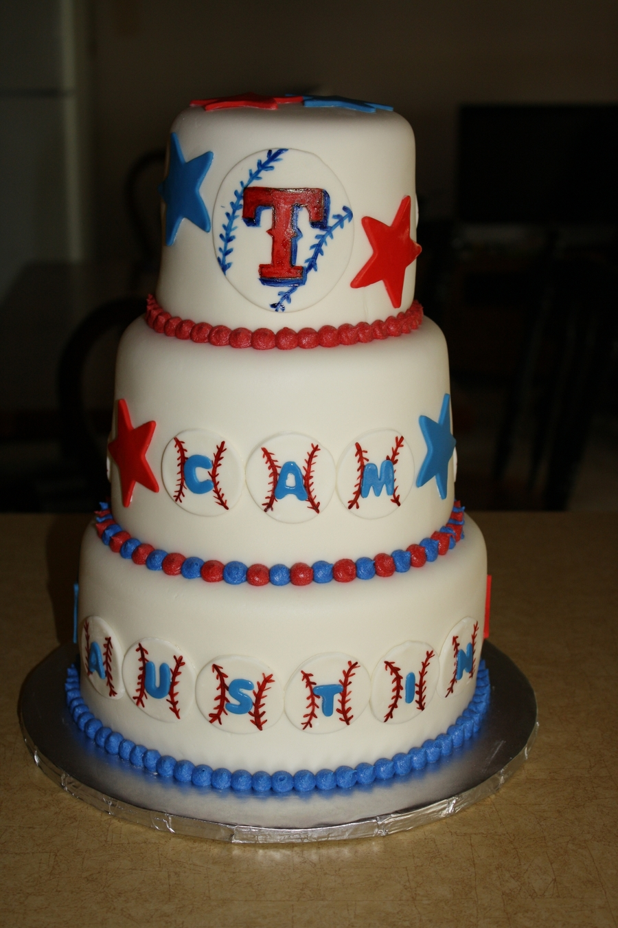 Three Tiered Texas Rangers Cake on Cake Central