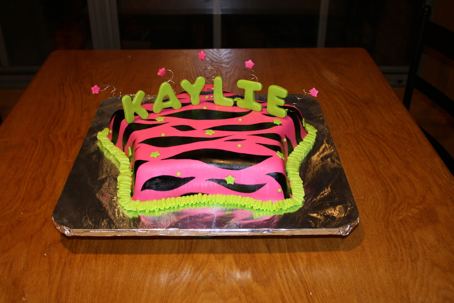 Hot Pink And Green Zebra Stripe Star Cake on Cake Central