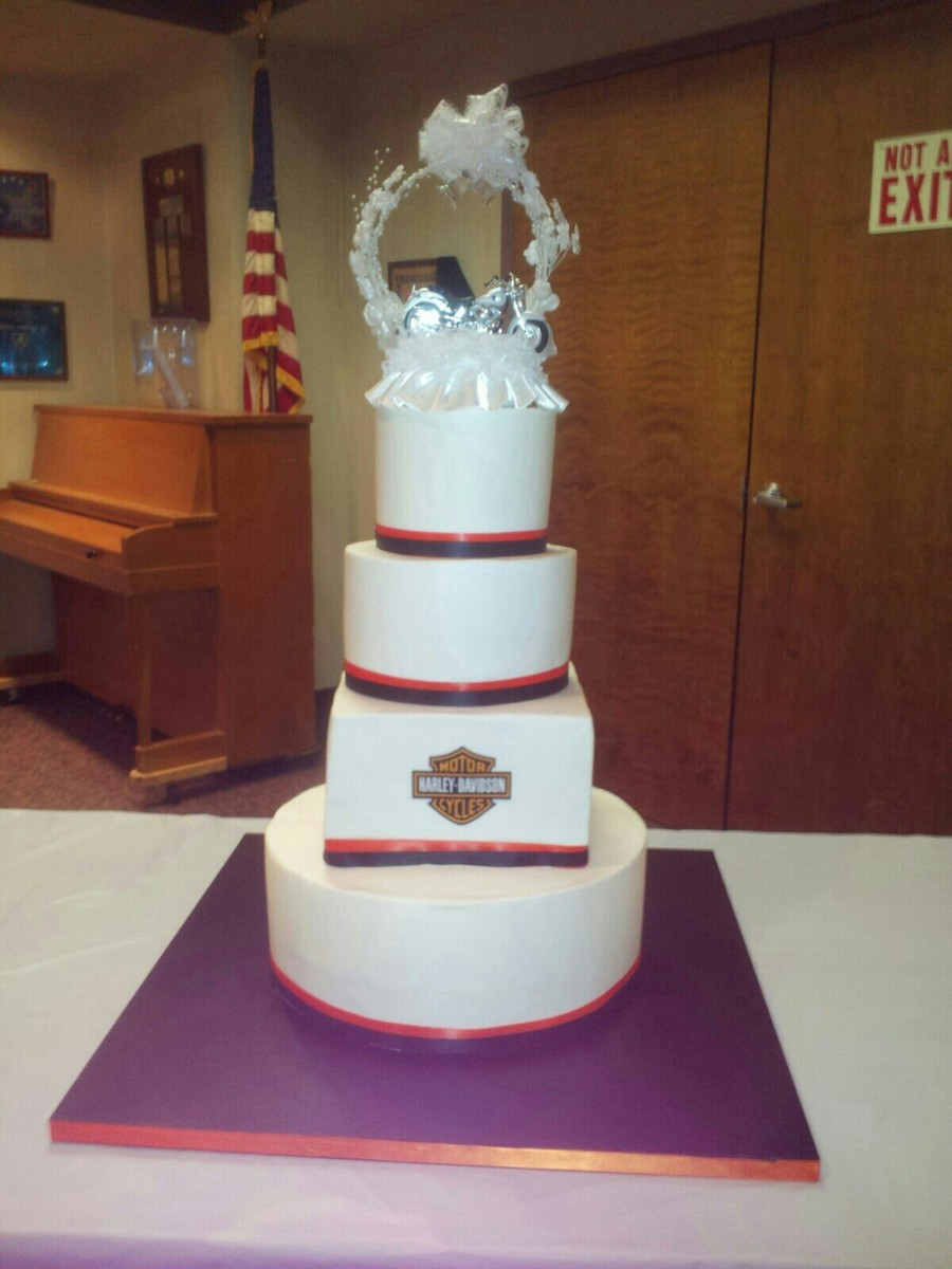 Round And Square Harley Davidson Wedding Cake on Cake Central