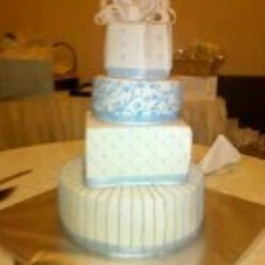 Hexagon Round Square Wedding Cake. on Cake Central
