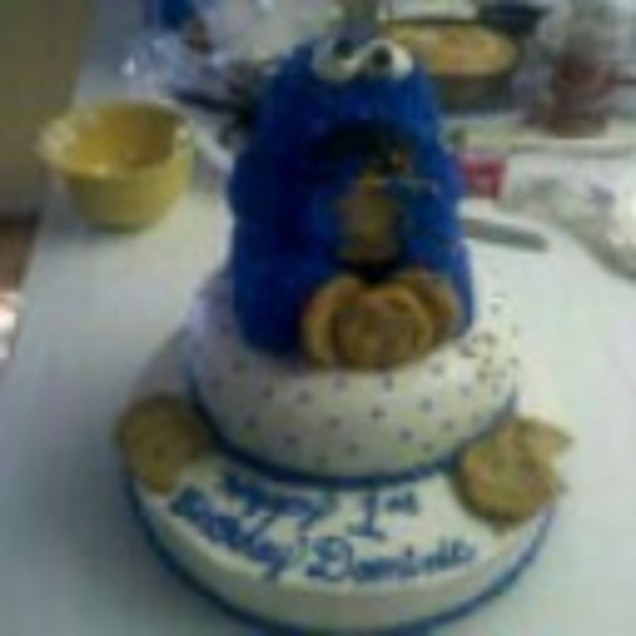 First Birthday Cookie Monster Cake on Cake Central