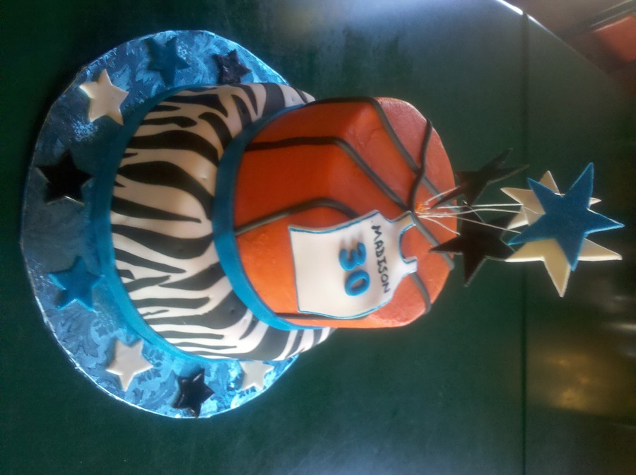 Zebra Stripes And A Basketball on Cake Central