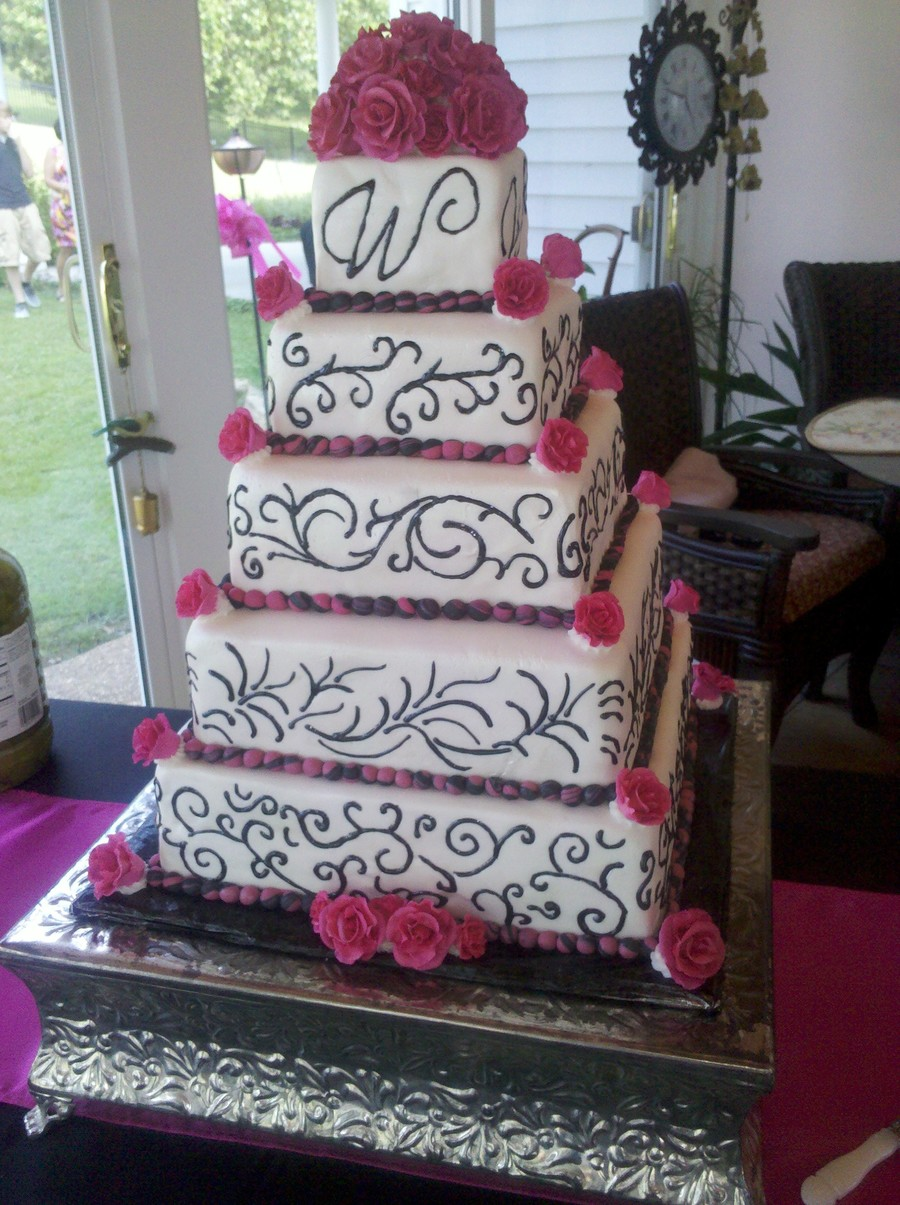 pink black and white wedding cakes with flowers pink black wedding cake cakecentral 18568