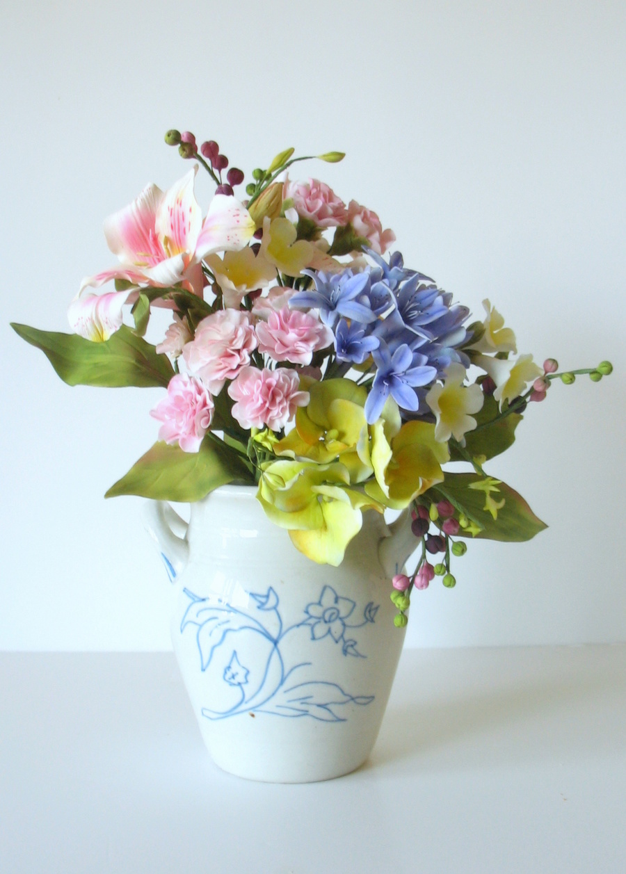 Bouquet Of Sugar Flowers Agapanthus Hydrangea Carnations Bower Of