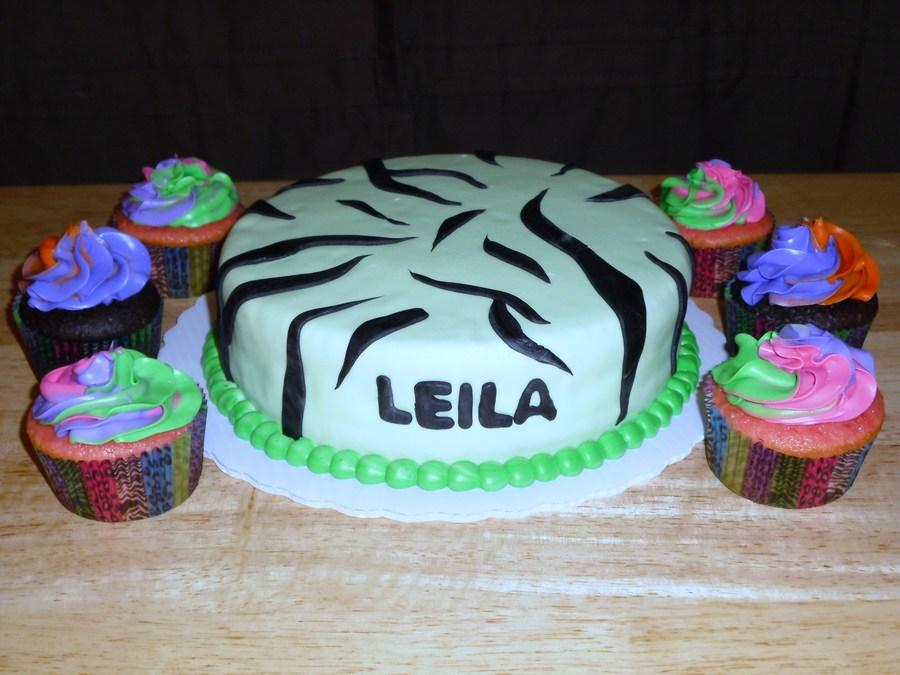 Zebra Cake With Multi Color Swirl Cupcakes on Cake Central