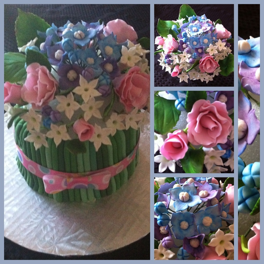 Flower Bouquet Cake White Cake With Buttercream Icing Flower Stems