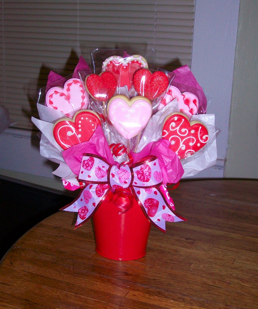 Valentine Cookie Bouquet on Cake Central