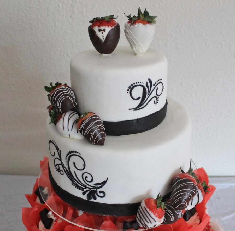 Strawberry Scroll Wedding Cake. - CakeCentral.com