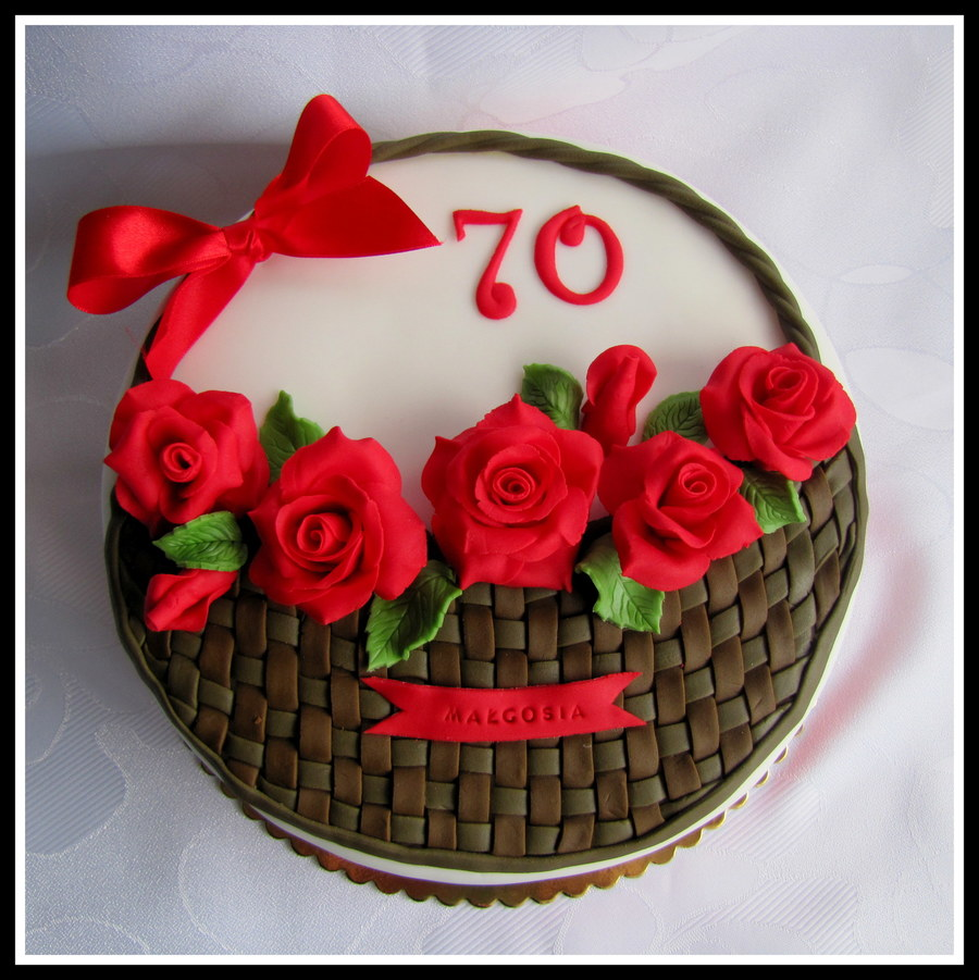 Basket Of Roses on Cake Central