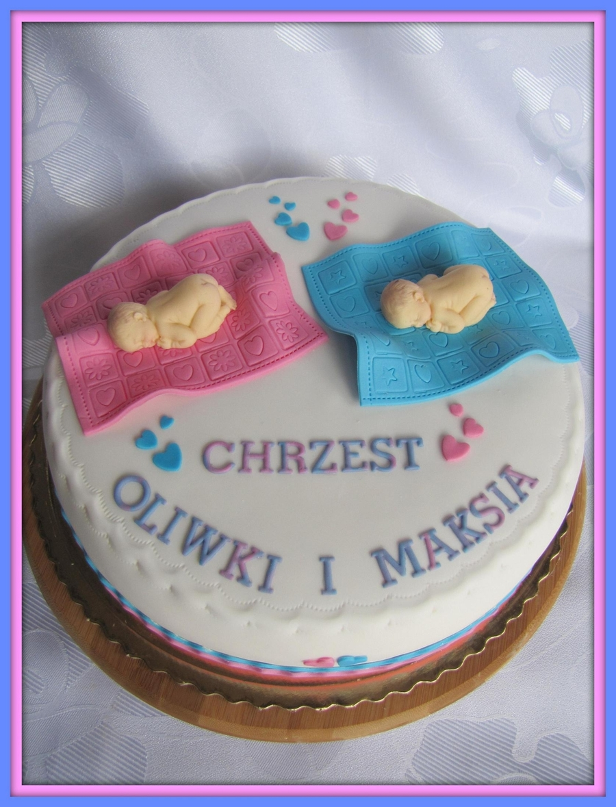 Baptism Of Twins on Cake Central