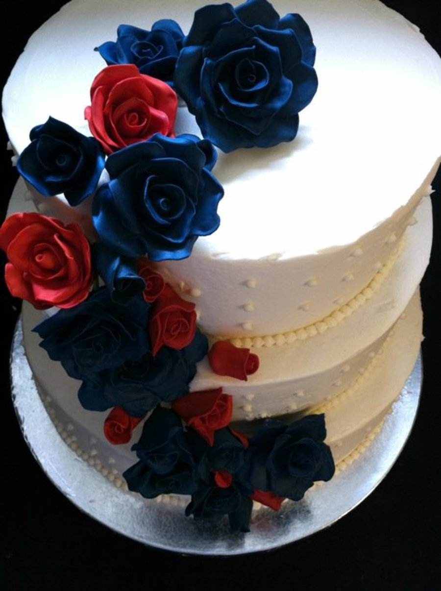 Navy And Red Roses Wedding on Cake Central