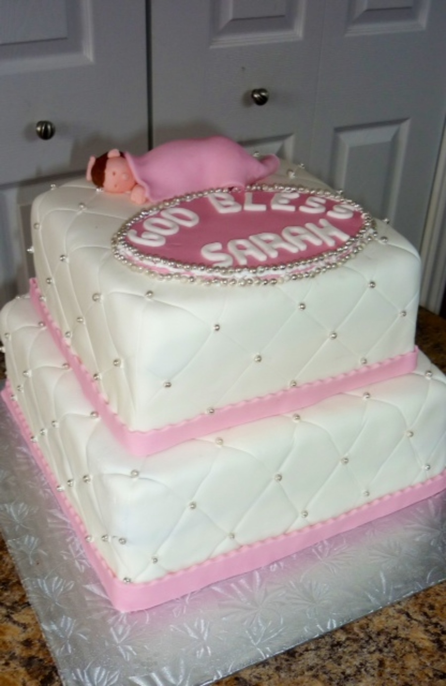 Sleeping Baby Christening Cake on Cake Central