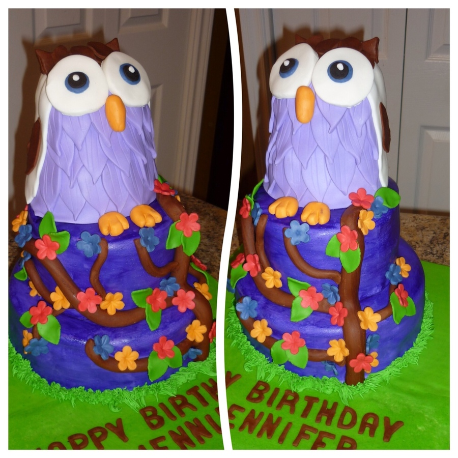 Owl On A Tree Cake  on Cake Central