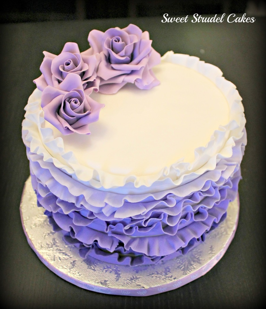 Purple Ombre Birthday Cake on Cake Central