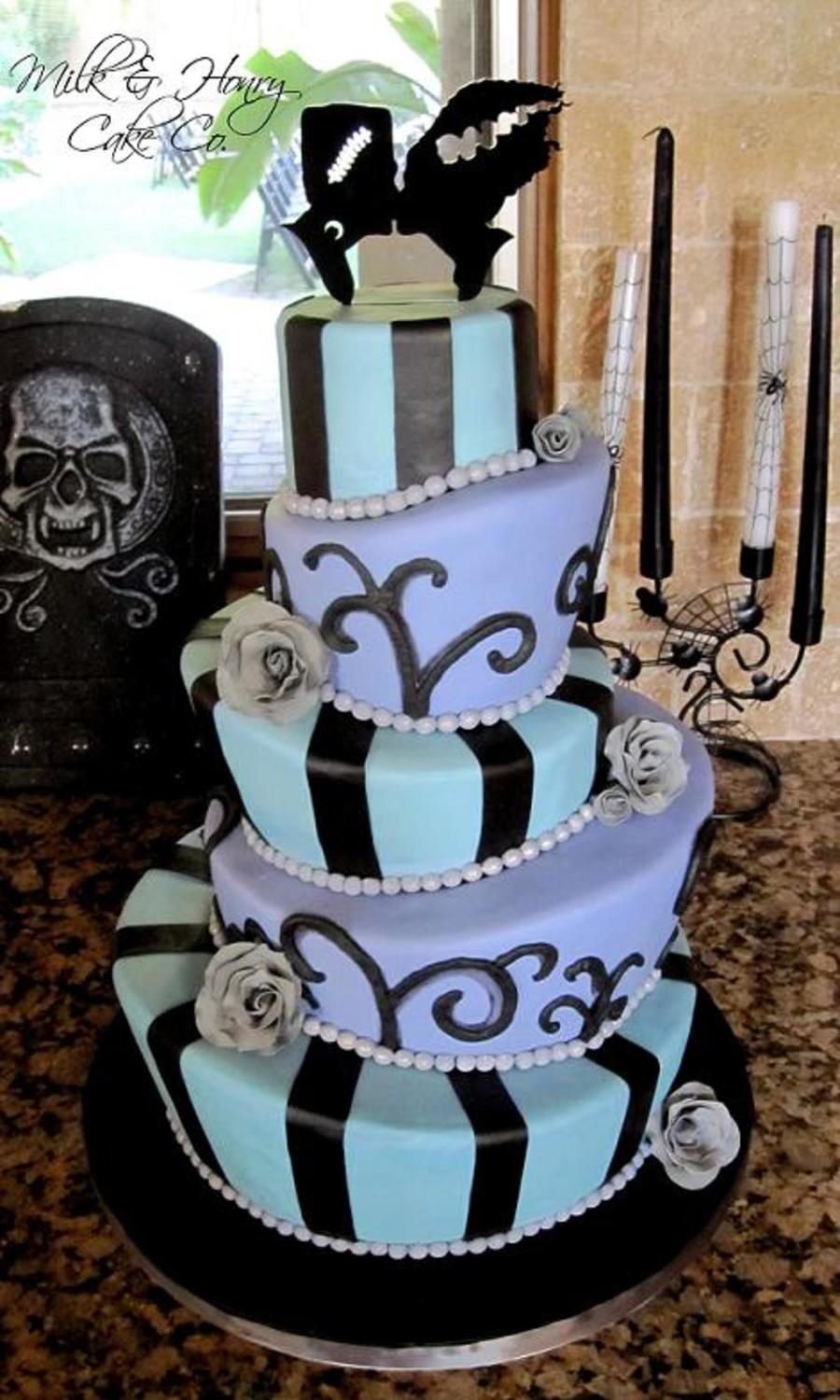 Halloween Wedding Cake Topsy Turvy Mad Hatter Tiers Bride Of ...