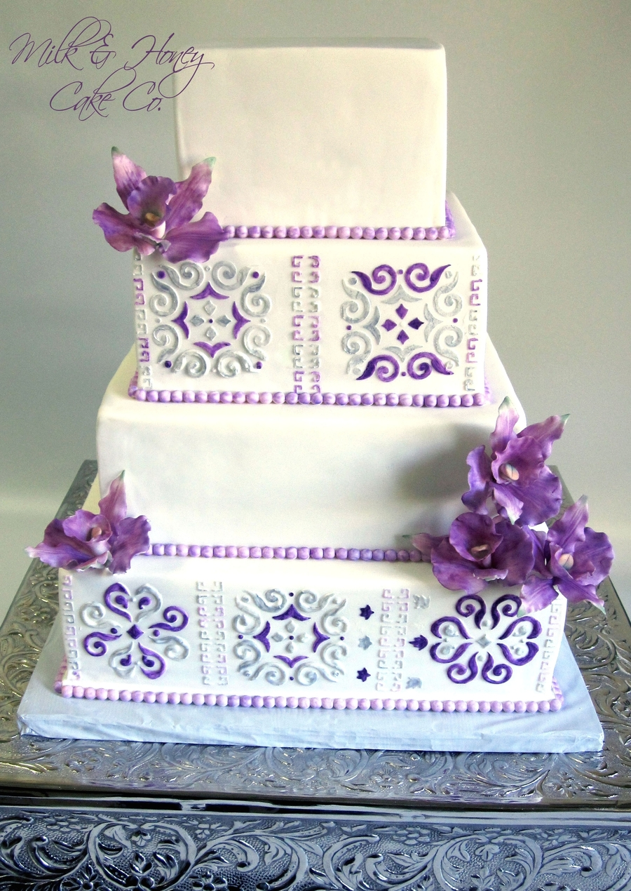 Mexican Tile Orchid Wedding Cake  on Cake Central