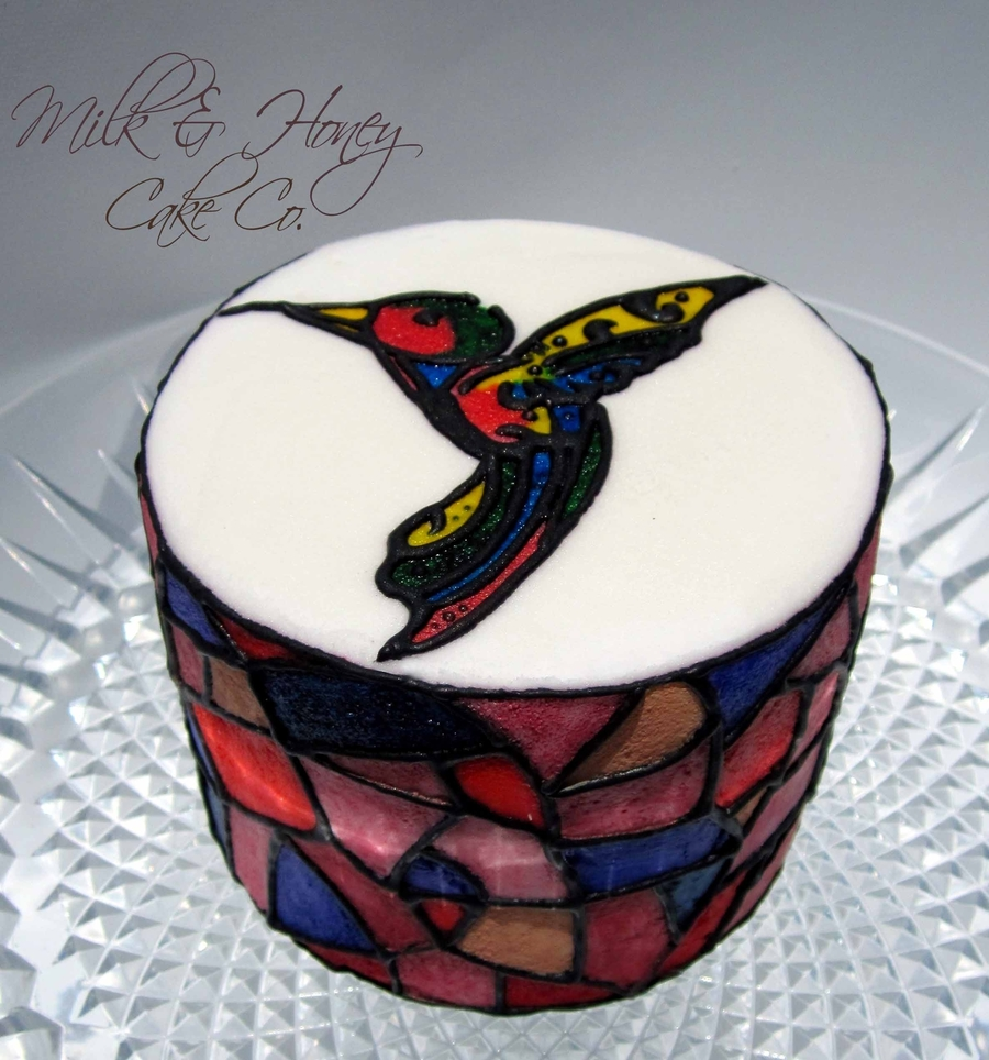 Stained Glass Hummingbird on Cake Central
